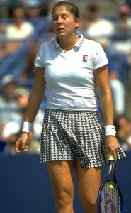 Monica Seles recovers at the 1995 US Open (thanks to imageslides.com)
