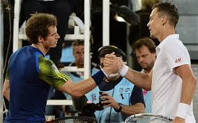 The victor and the vanquished: Berdych and Murray shake hands at the net in Madrid (thanks to telegraph.co.uk)